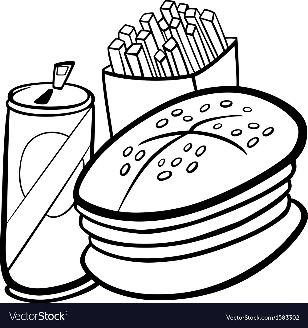 Fast food cartoon for coloring book vector | Price: 1 Credit (USD $1)