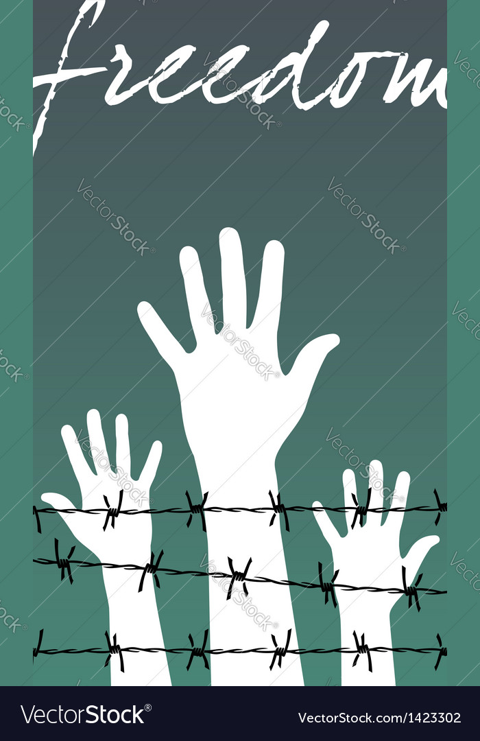 Hands behind a barbed wire prison with the word vector | Price: 1 Credit (USD $1)