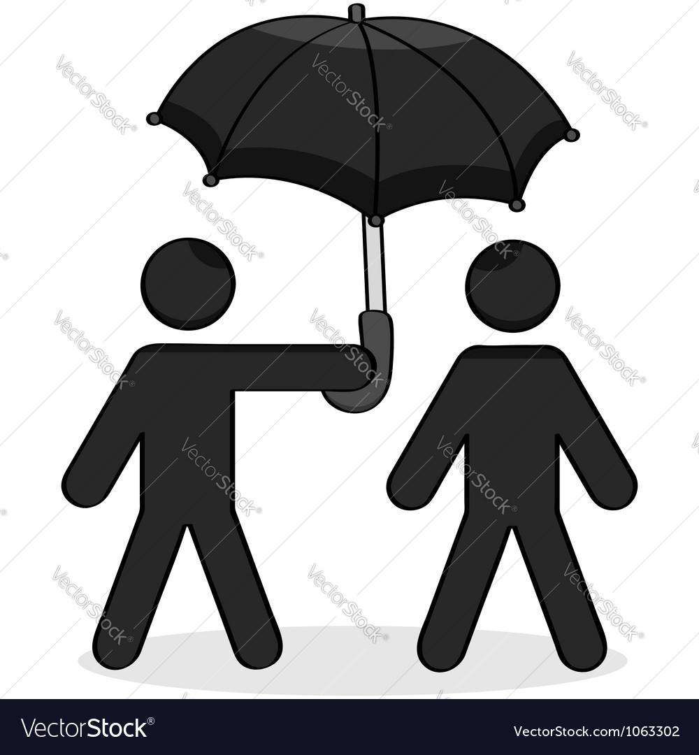 Helping umbrella vector | Price: 1 Credit (USD $1)