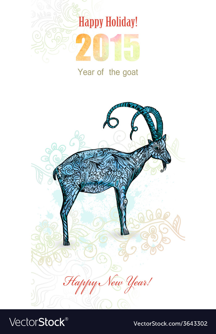 Invitation card with watercolor painting of goat vector | Price: 1 Credit (USD $1)