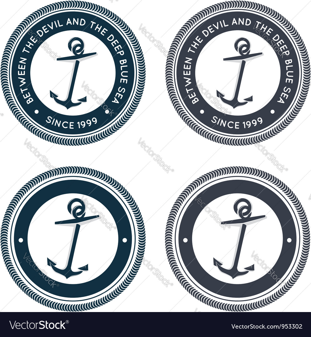 Nautical emblem with anchor vector | Price:  Credit (USD $)