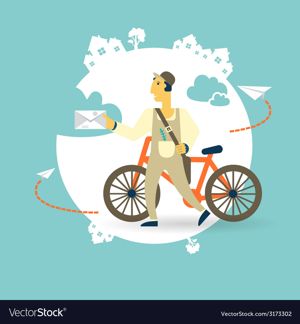 Postman a bike with a letter icon vector | Price: 1 Credit (USD $1)