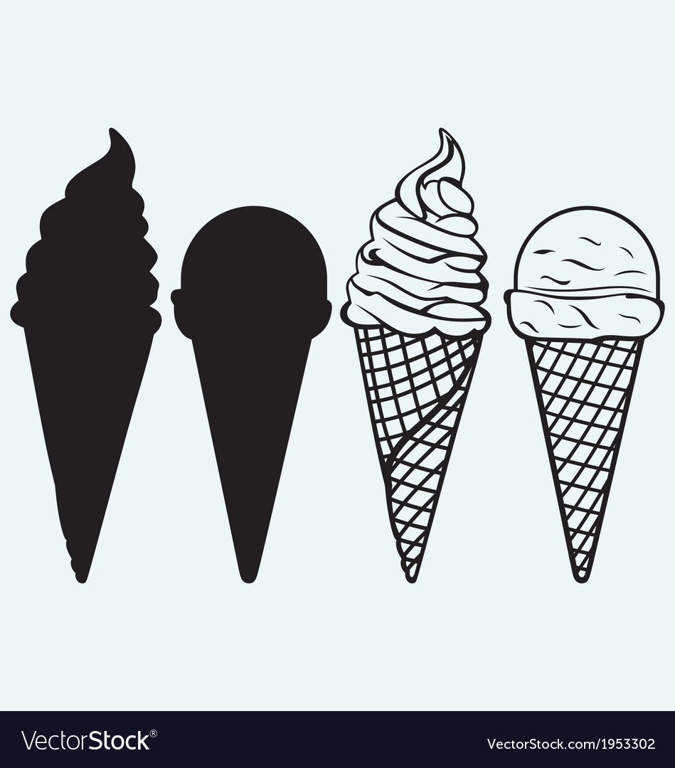 Sorts of ice cream in a waffles vector | Price: 1 Credit (USD $1)