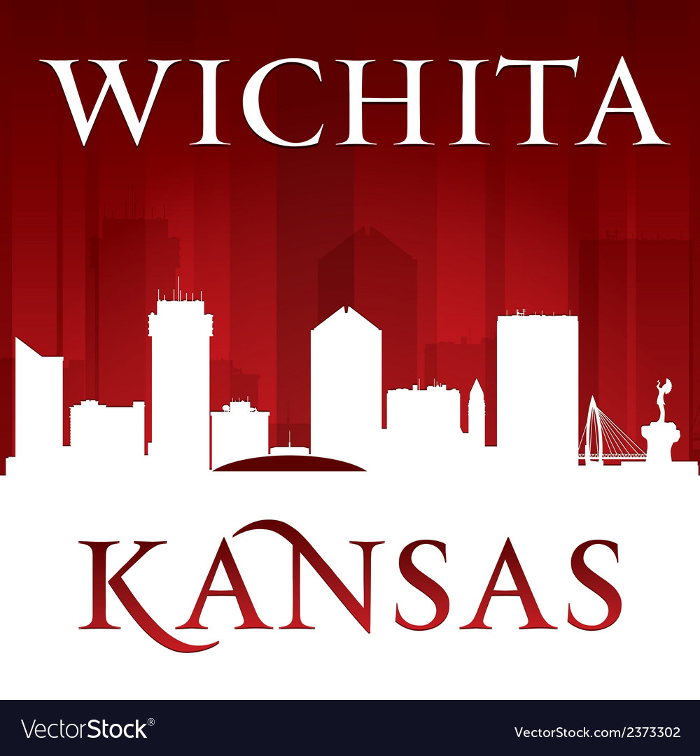 Wichita kansas city skyline silhouette vector | Price: 1 Credit (USD $1)