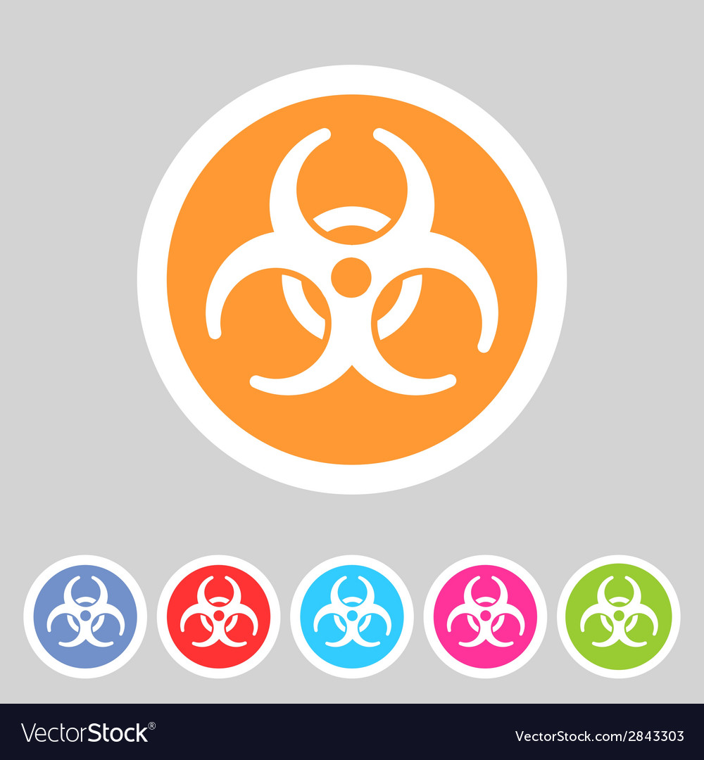 Biohazard flat icon badge vector | Price: 1 Credit (USD $1)