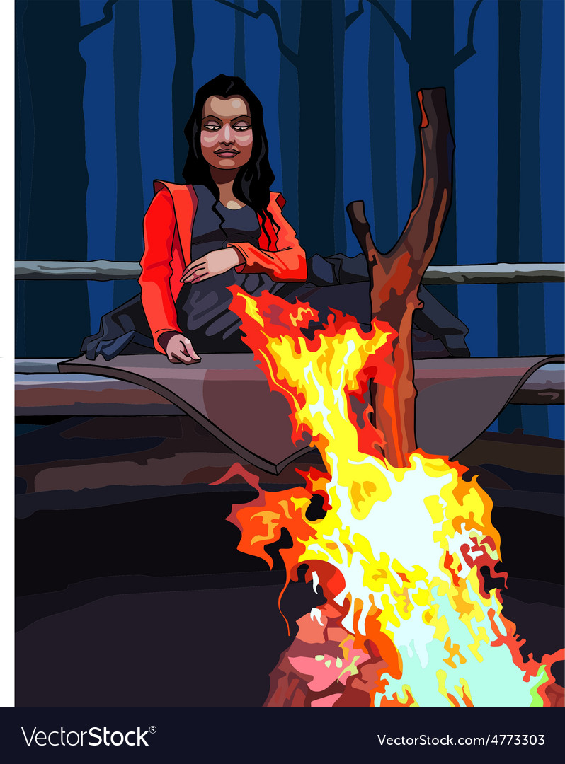 Cartoon woman sitting around a campfire vector | Price: 3 Credit (USD $3)