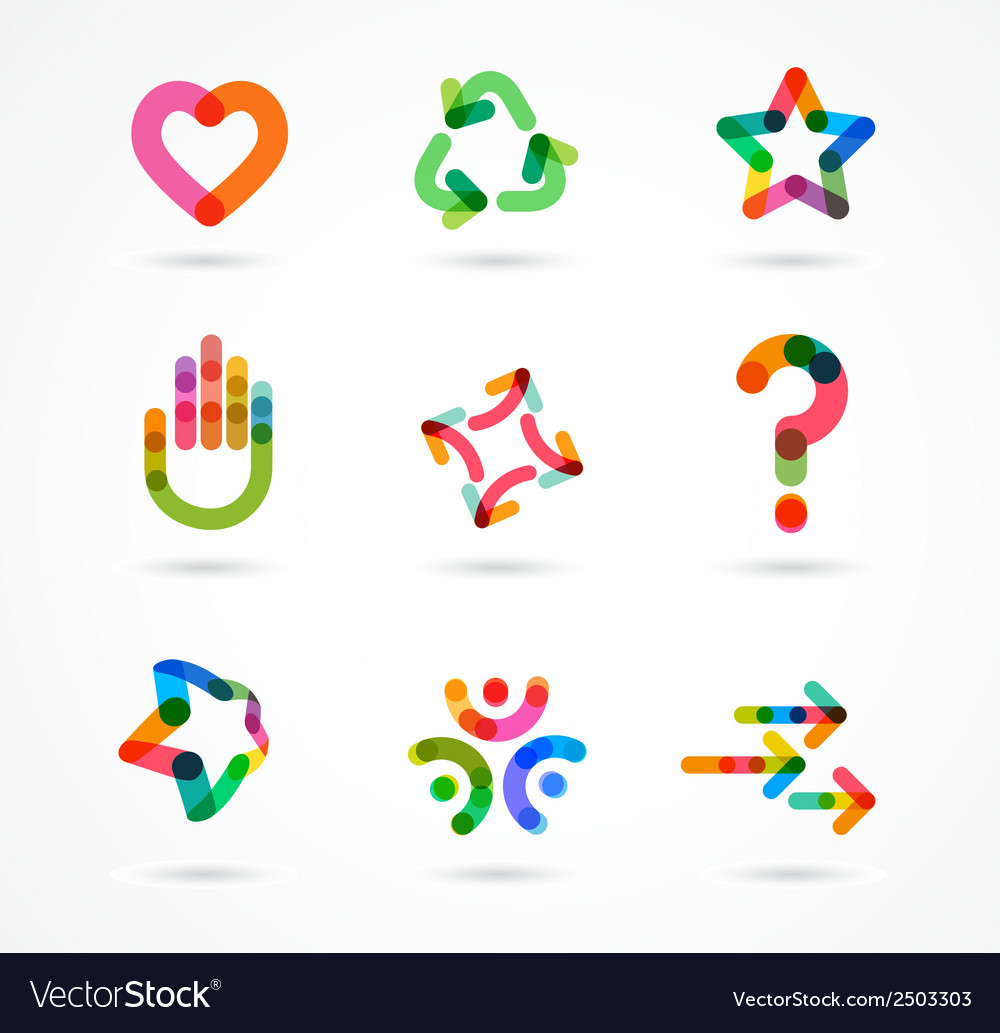 Collection of abstract colorful business icons vector | Price: 1 Credit (USD $1)