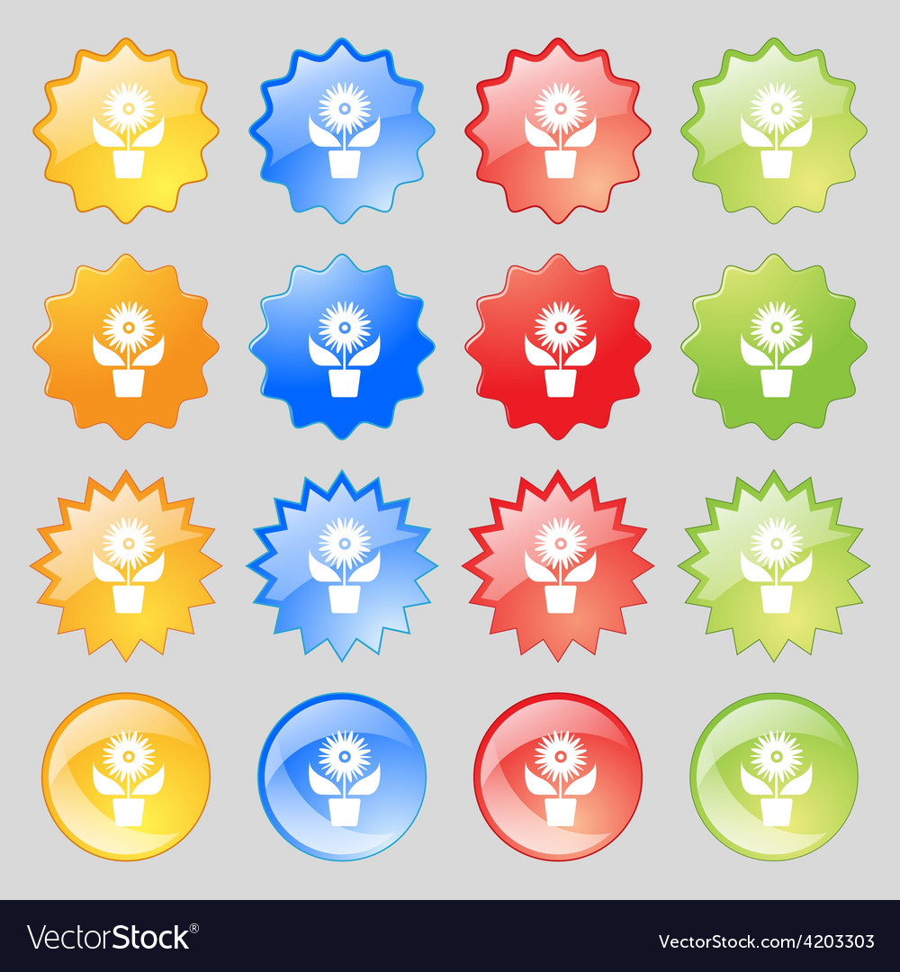 Flowers in pot icon sign big set of 16 colorful vector | Price: 1 Credit (USD $1)