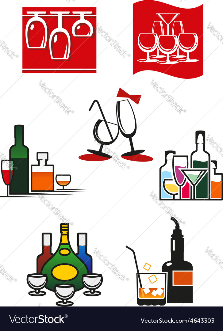 Glasses and alcohol icons or symbols vector | Price: 1 Credit (USD $1)