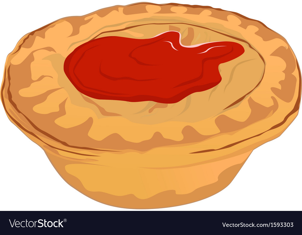 Meat pie with tomato sauce vector | Price: 1 Credit (USD $1)