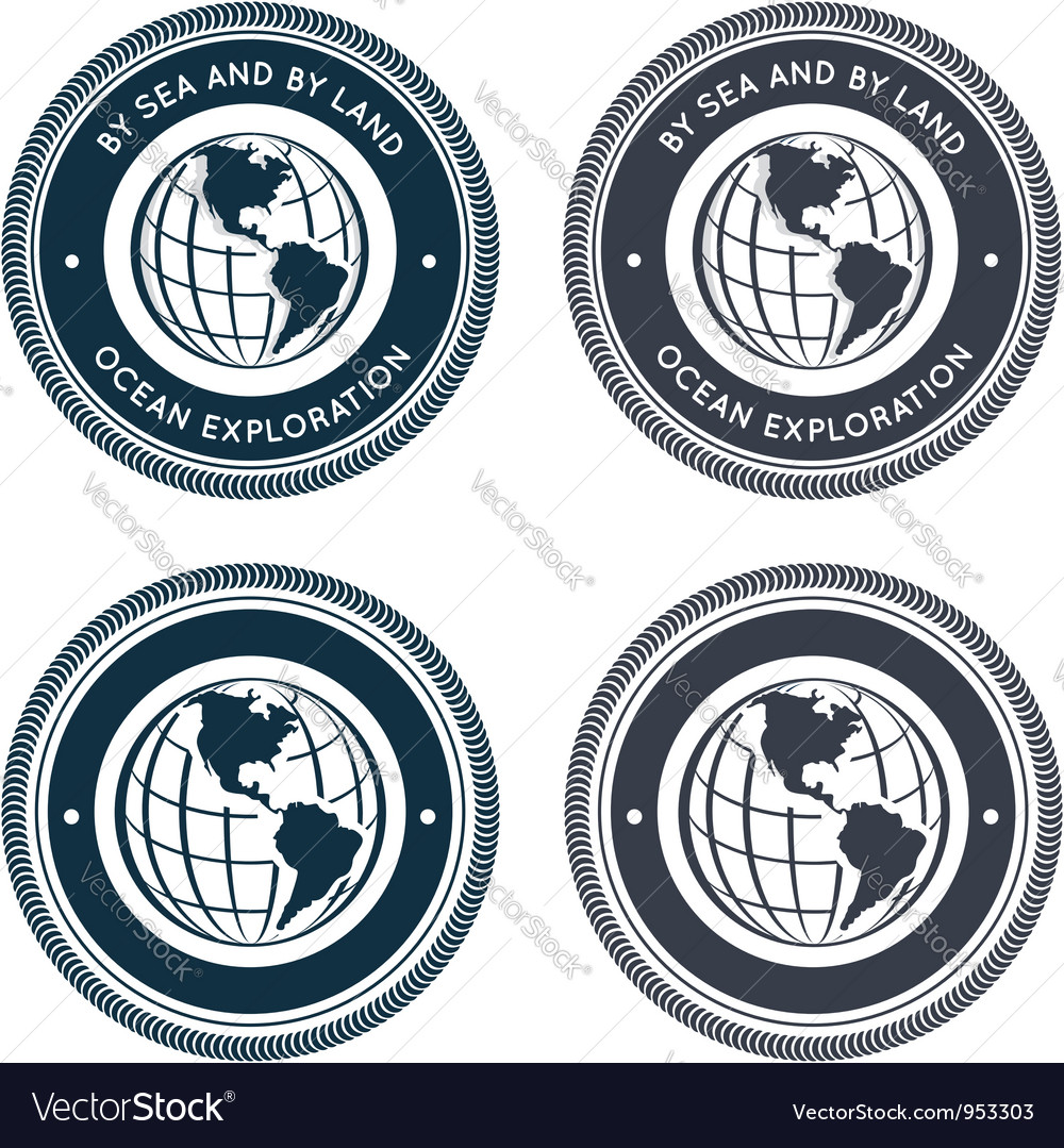 Nautical emblem with globe vector | Price:  Credit (USD $)