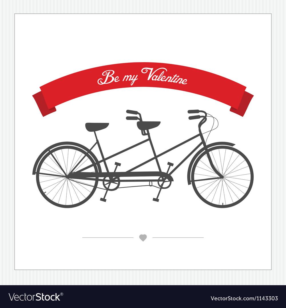Postcard with vintage tandem bicycle vector