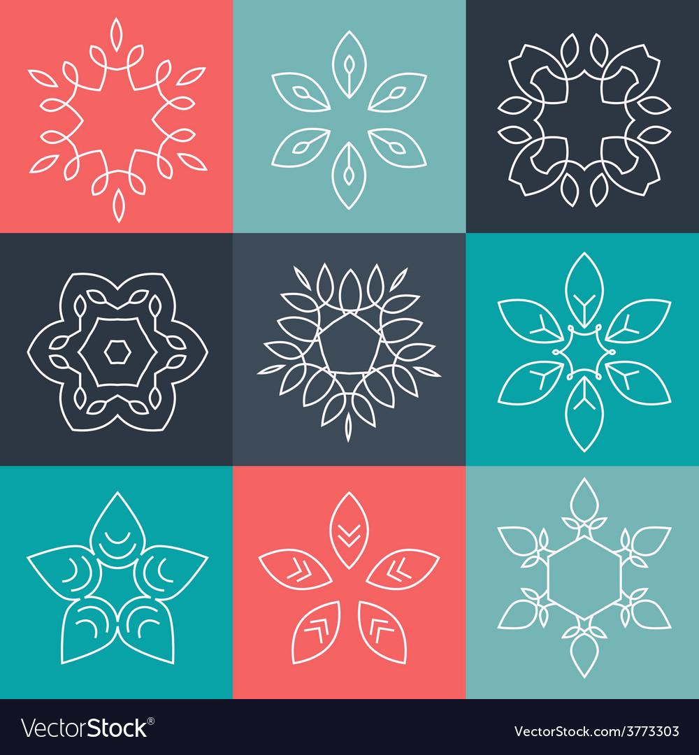 Set of elegant lineart logo design elements vector   Price: 1 Credit (USD $1)