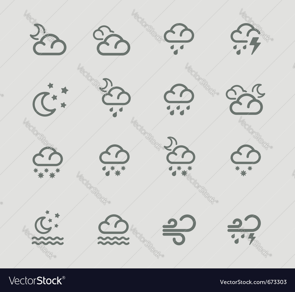 Weather forecast pictograms - night vector | Price: 1 Credit (USD $1)