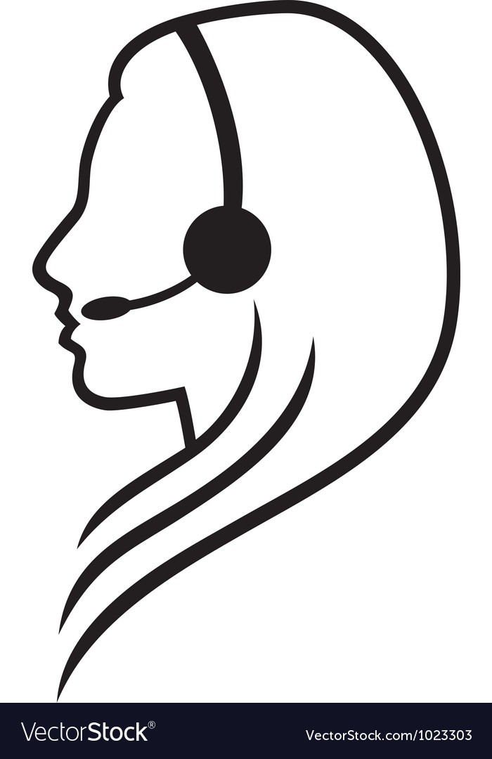 Women headset symbol vector | Price: 1 Credit (USD $1)