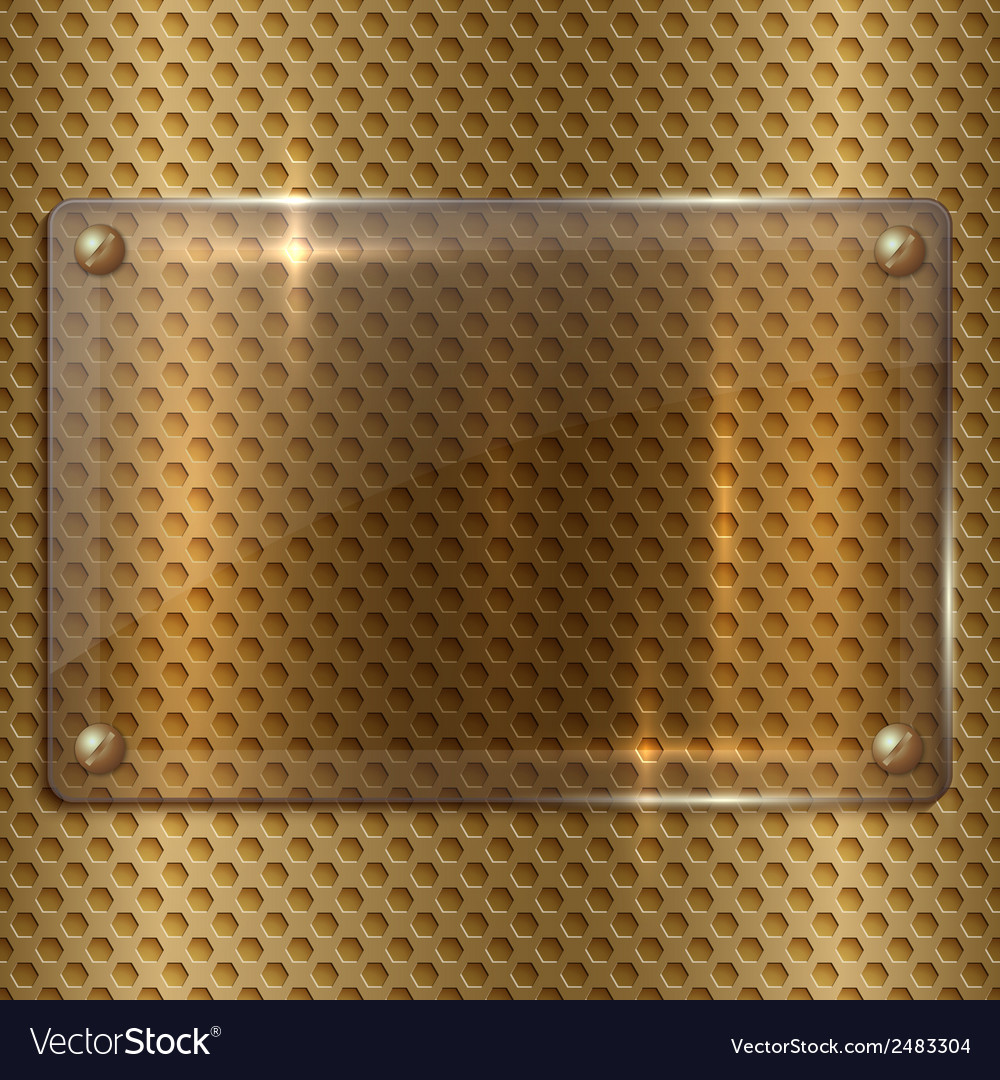 Abstract glass plaque on the metal cell grid vector | Price: 1 Credit (USD $1)