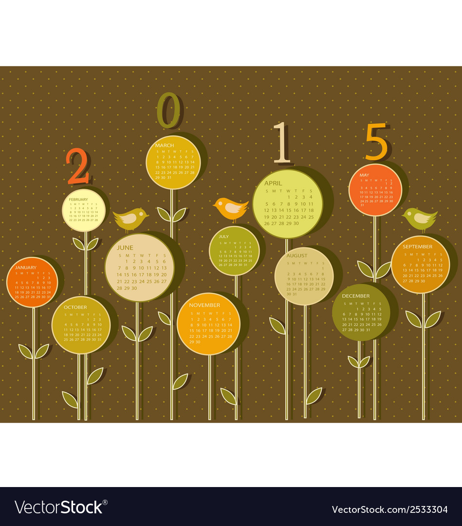 Calendar for 2015 year with flowers vector | Price: 1 Credit (USD $1)
