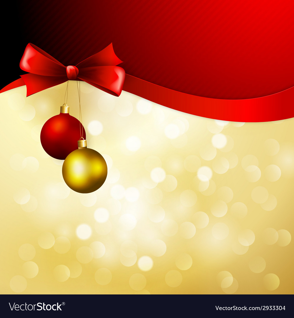 Christmas background with bow and balls vector | Price: 1 Credit (USD $1)