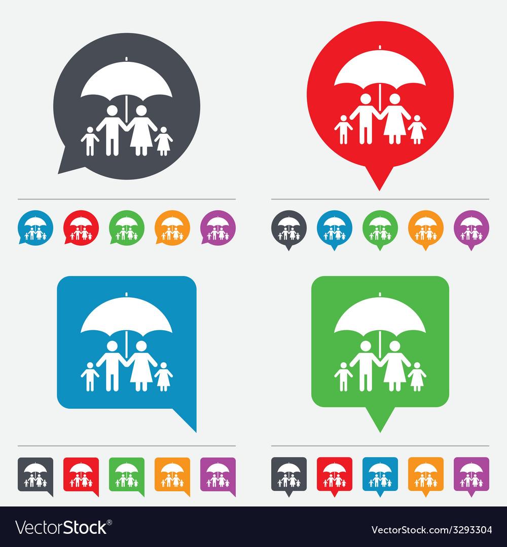 Complete family insurance icon umbrella symbol vector | Price: 1 Credit (USD $1)