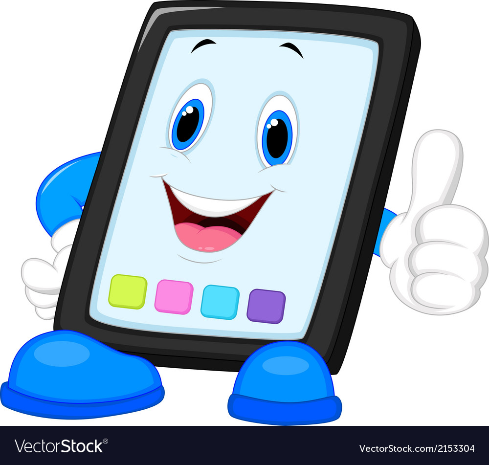 Computer tablet cartoon giving thumb up vector | Price: 1 Credit (USD $1)