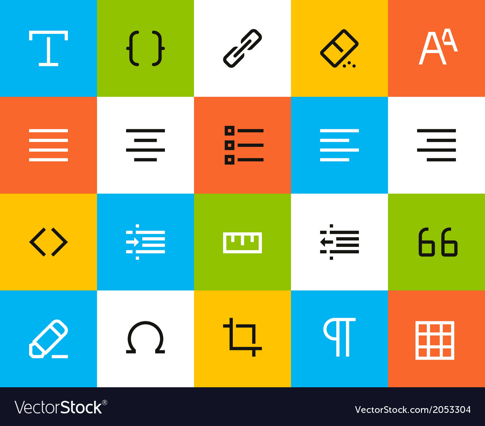 Formatting and editing icons flat vector | Price: 1 Credit (USD $1)
