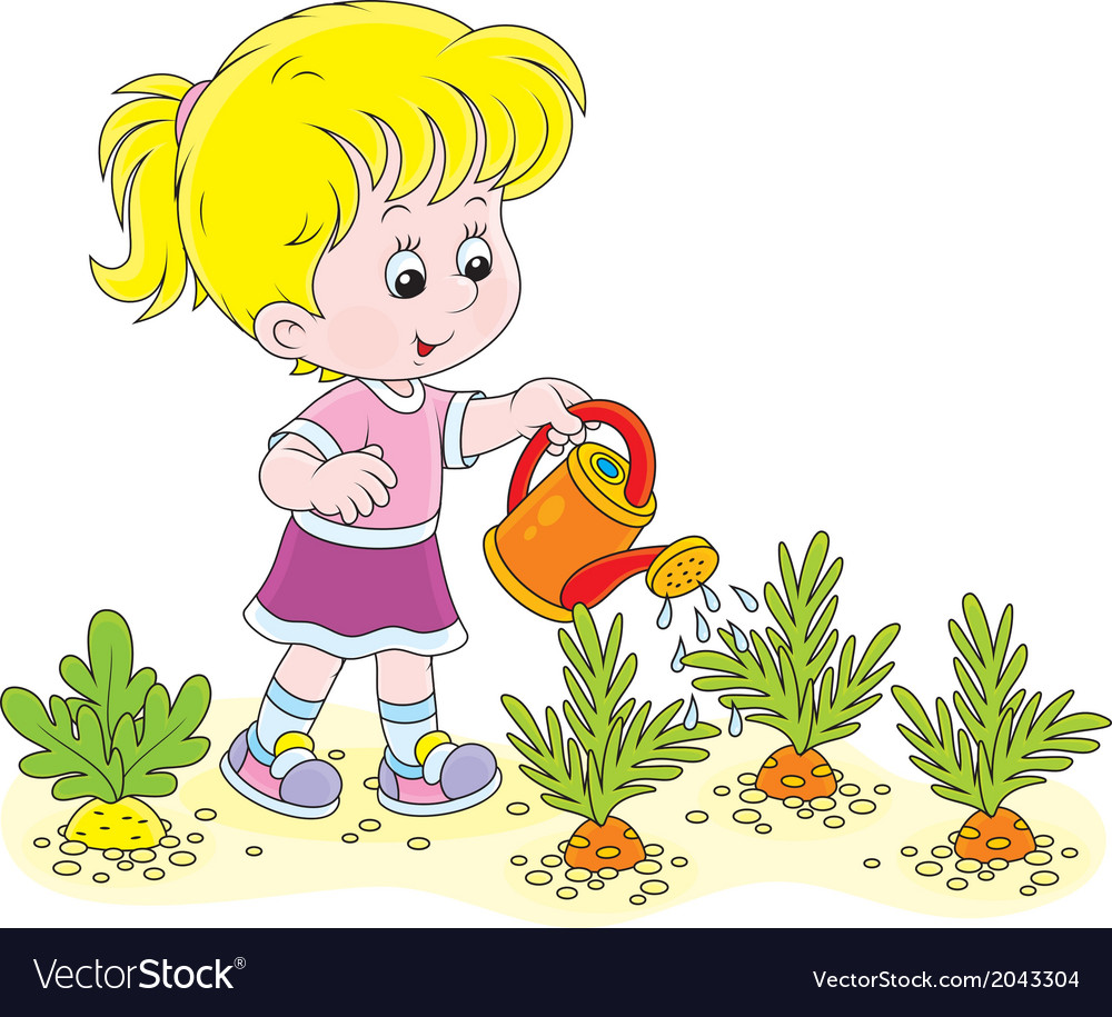 Girl watering carrots vector | Price: 1 Credit (USD $1)