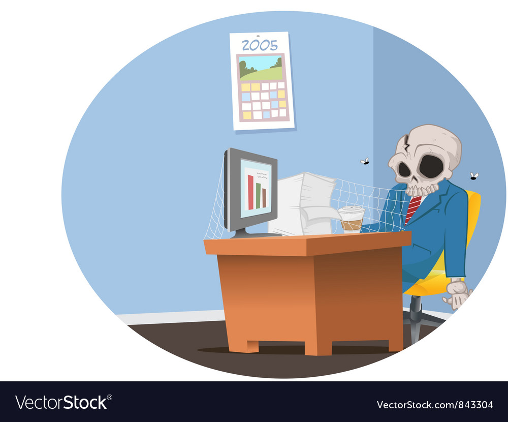 Office employee skeleton vector | Price: 3 Credit (USD $3)