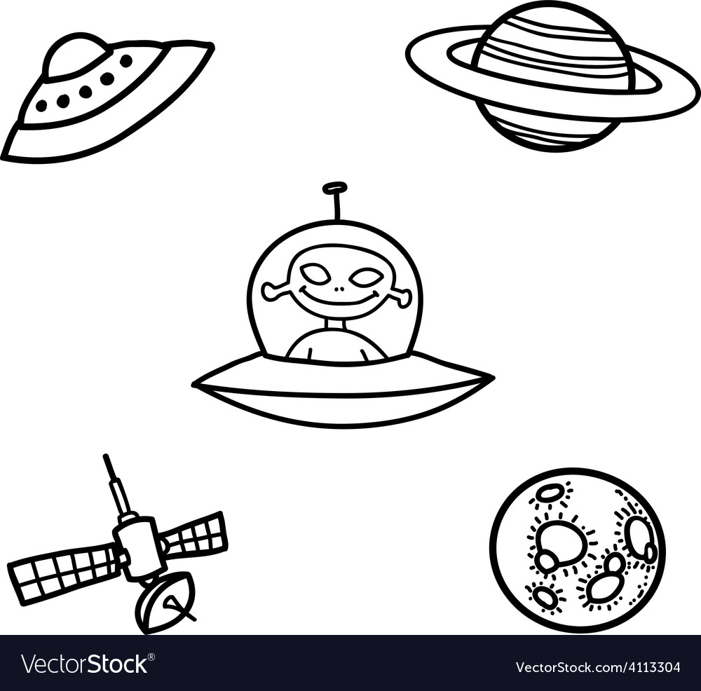Outer space doodles two vector | Price: 1 Credit (USD $1)