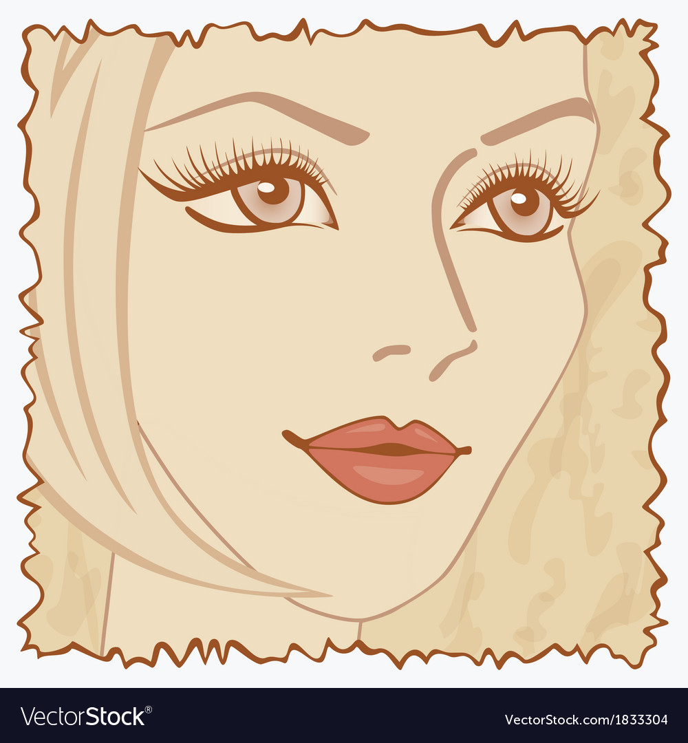 Vintage beautiful sweet girl vector | Price: 1 Credit (USD $1)