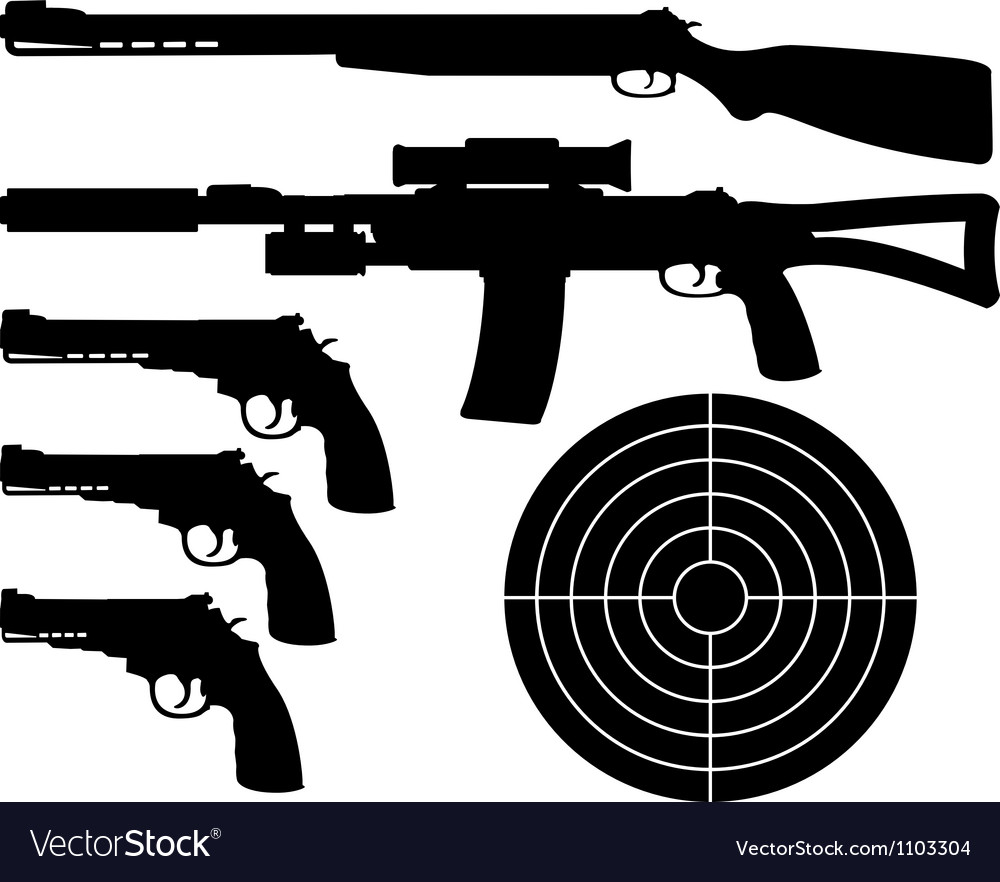 Weapons silhouettes and target vector | Price: 1 Credit (USD $1)