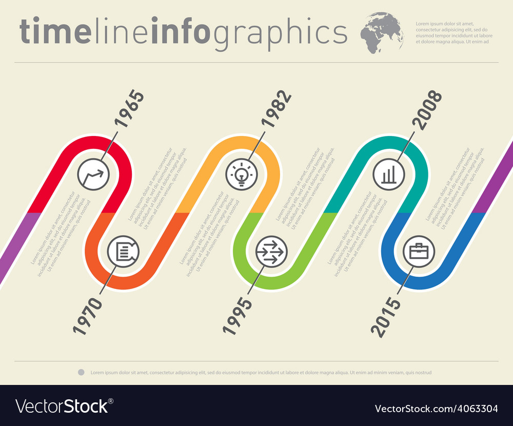 World business infographic timeline from past to vector | Price: 1 Credit (USD $1)