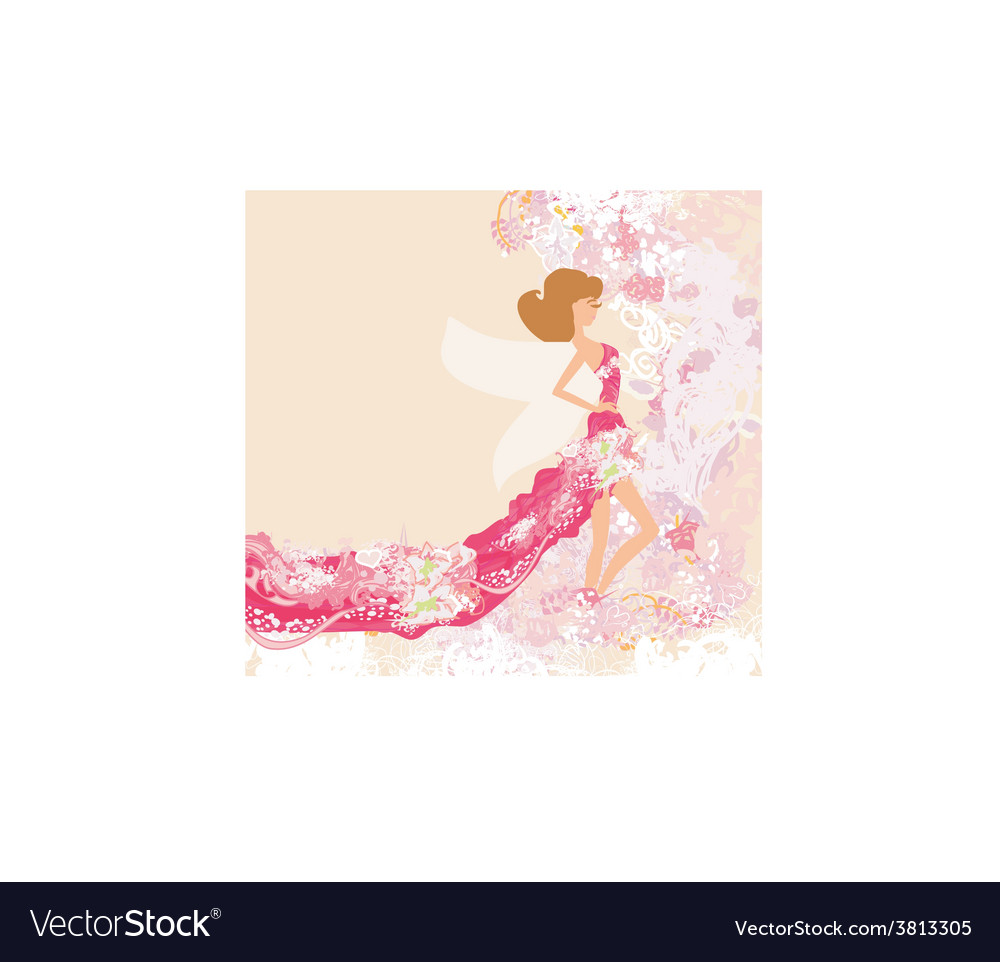Abstract beautiful floral woman vector | Price: 1 Credit (USD $1)