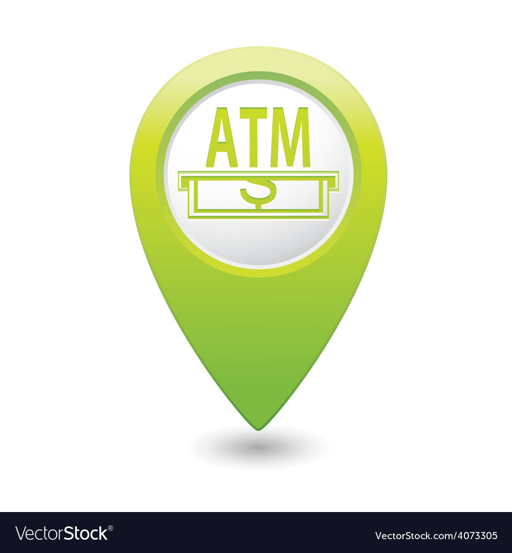 Atm green map pointer vector | Price: 1 Credit (USD $1)