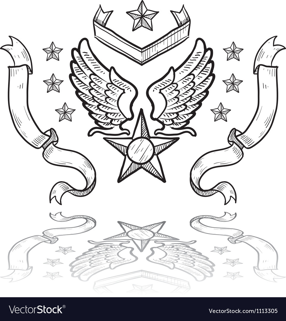 Doodle us military insignia airforce vector | Price: 1 Credit (USD $1)