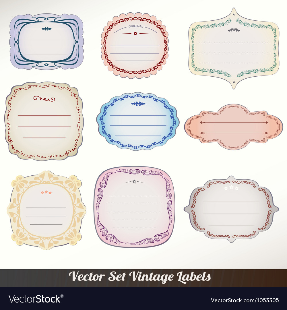 Frame labels set ornamental vintage vector | Price: 1 Credit (USD $1)
