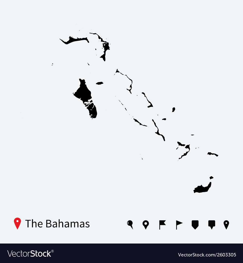 High detailed map of bahamas with navigation pins vector   Price: 1 Credit (USD $1)