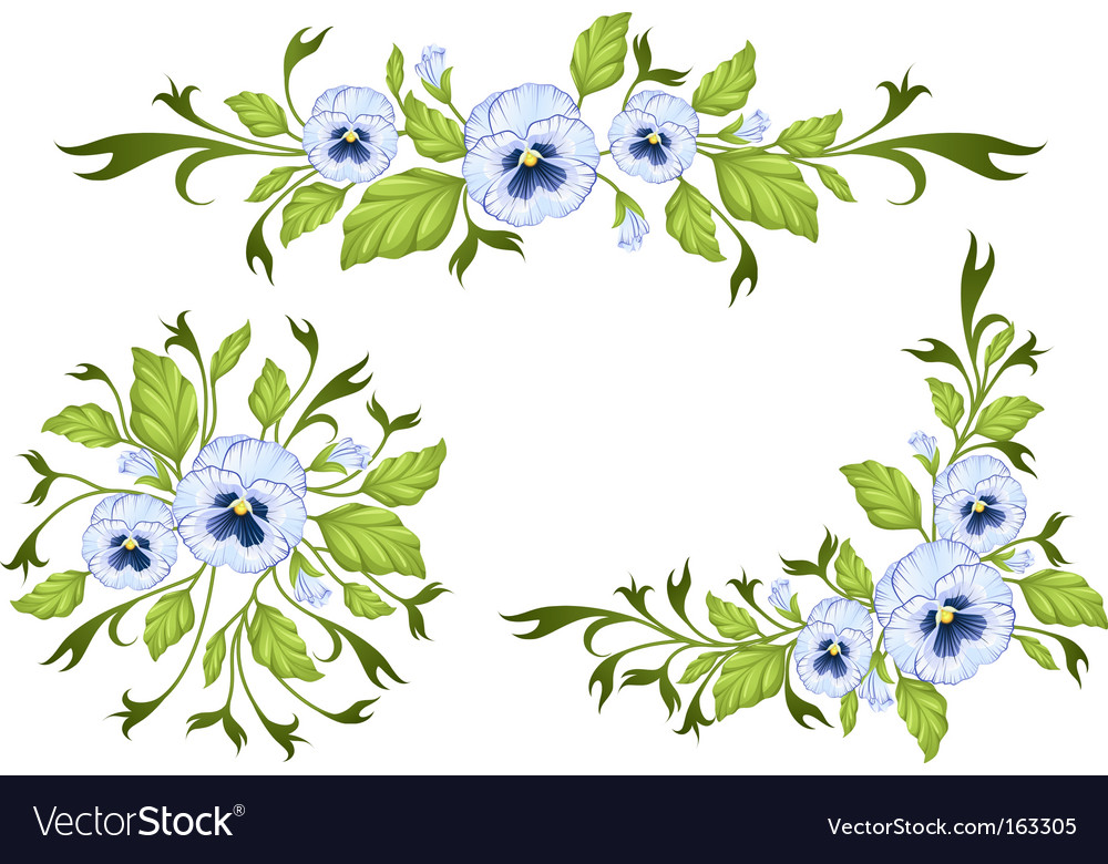 Pansy decorative elements vector | Price: 1 Credit (USD $1)