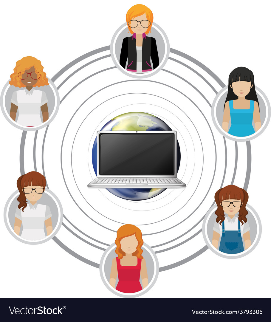 People connected by technology vector   Price: 1 Credit (USD $1)