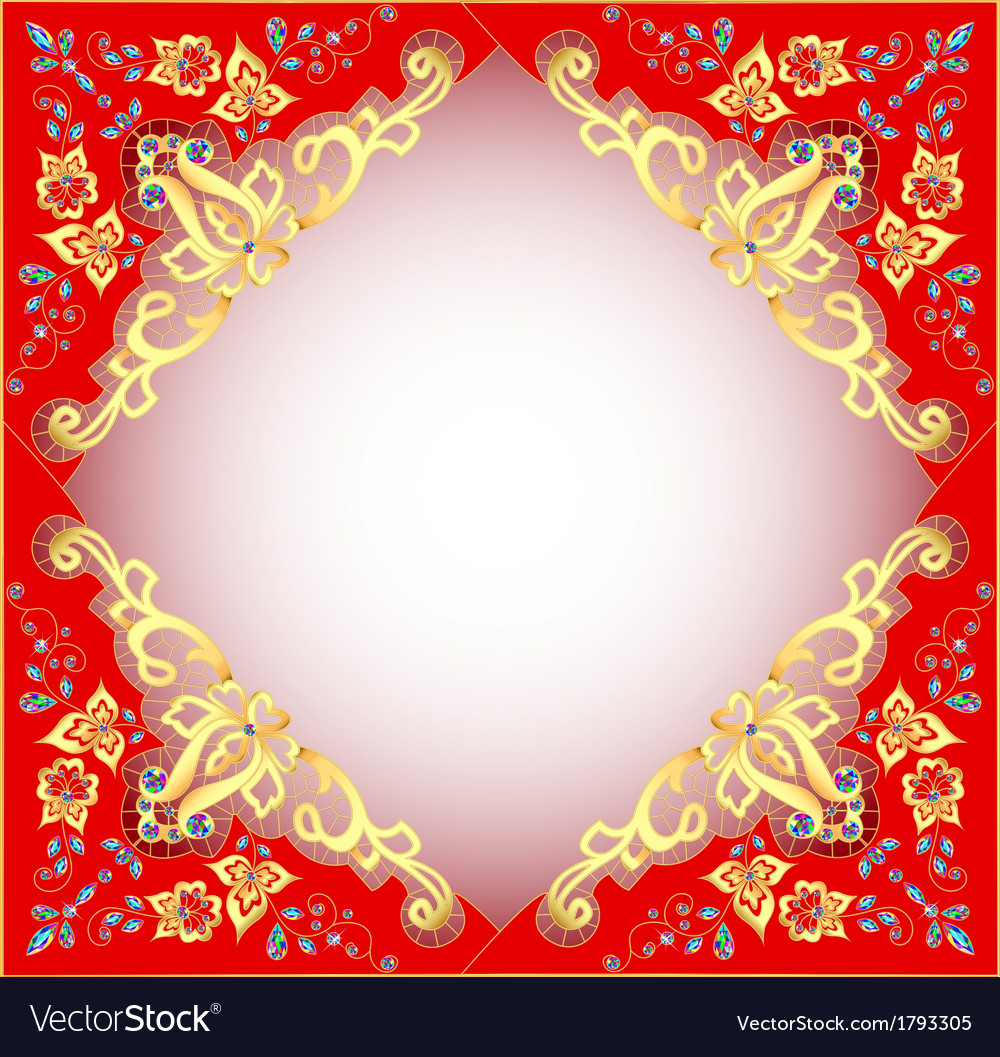 Red background with gold ornament vector | Price: 1 Credit (USD $1)