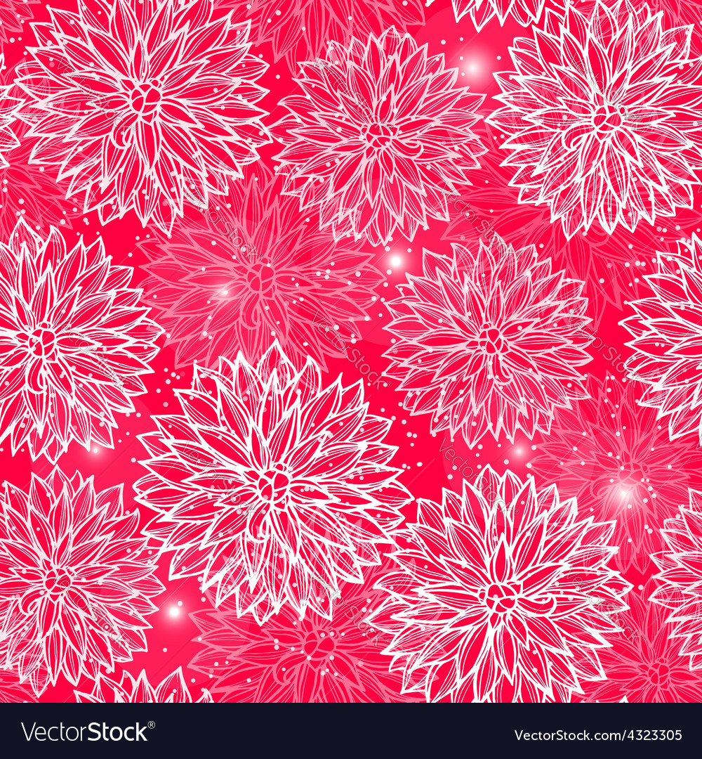 Seamless pattern with flowers dahlia vector   Price: 1 Credit (USD $1)
