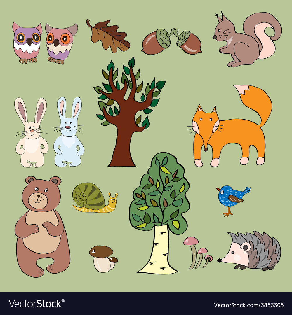 Set of cute forest animals vector | Price: 1 Credit (USD $1)