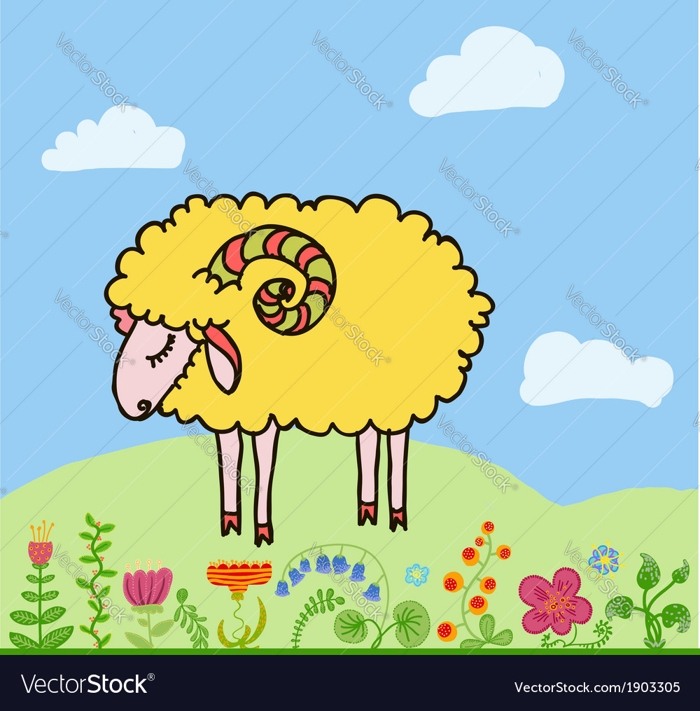 Sheep cartoon vector | Price: 1 Credit (USD $1)