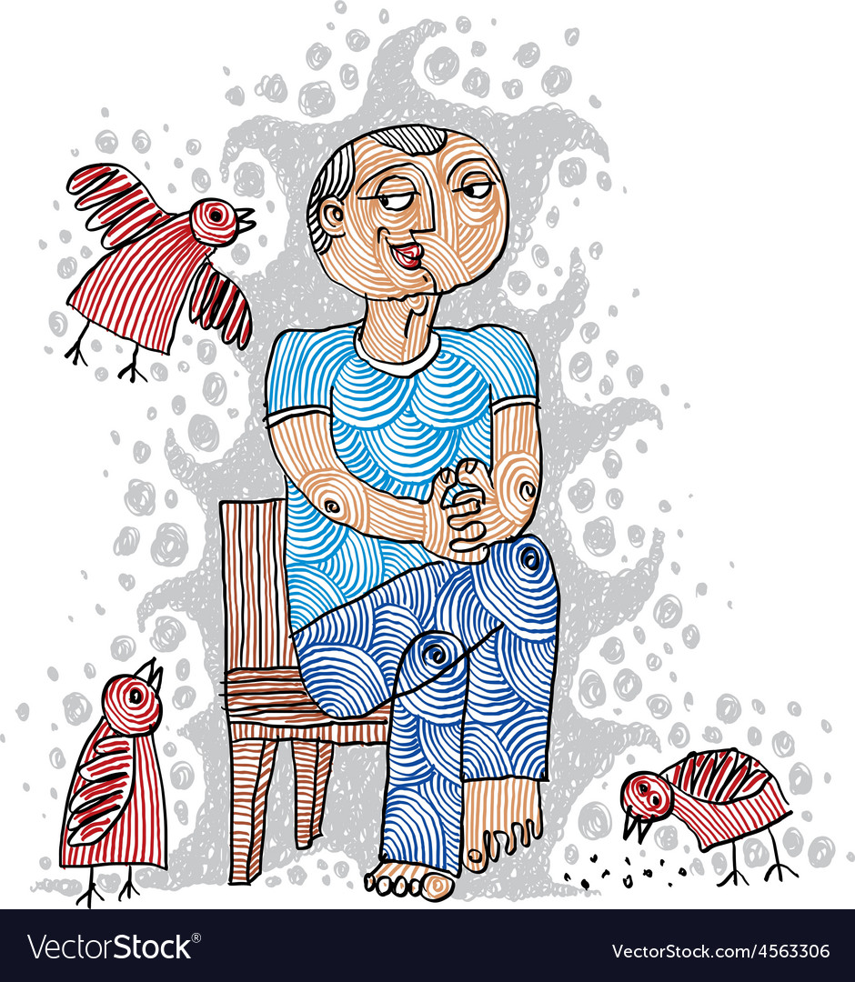 A kind person sitting on a chair and feeding bir vector | Price: 1 Credit (USD $1)