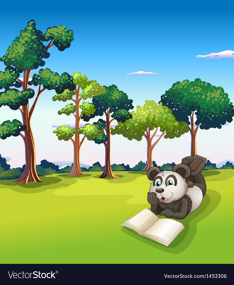 A panda lying at the grass while reading a book vector | Price: 1 Credit (USD $1)