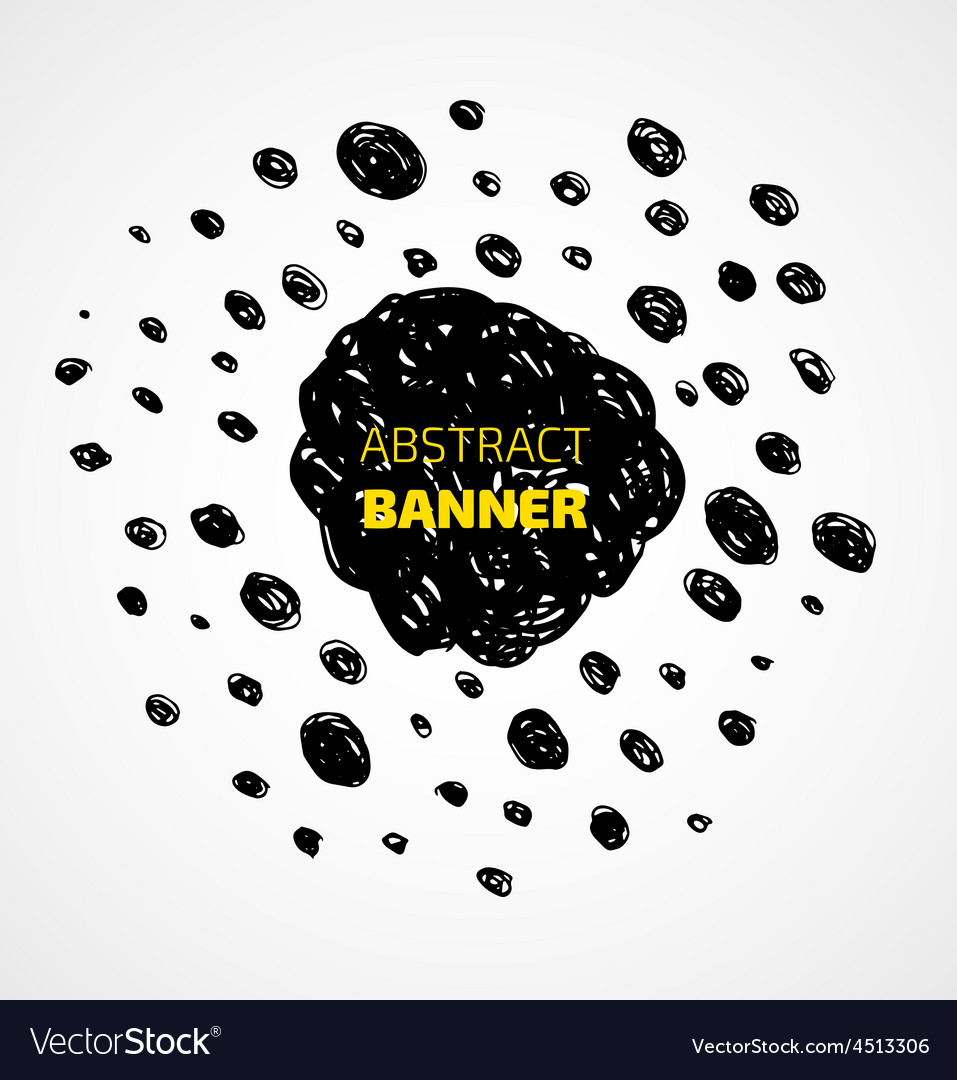 Abstract black scribble dots circle frame banner vector | Price: 1 Credit (USD $1)