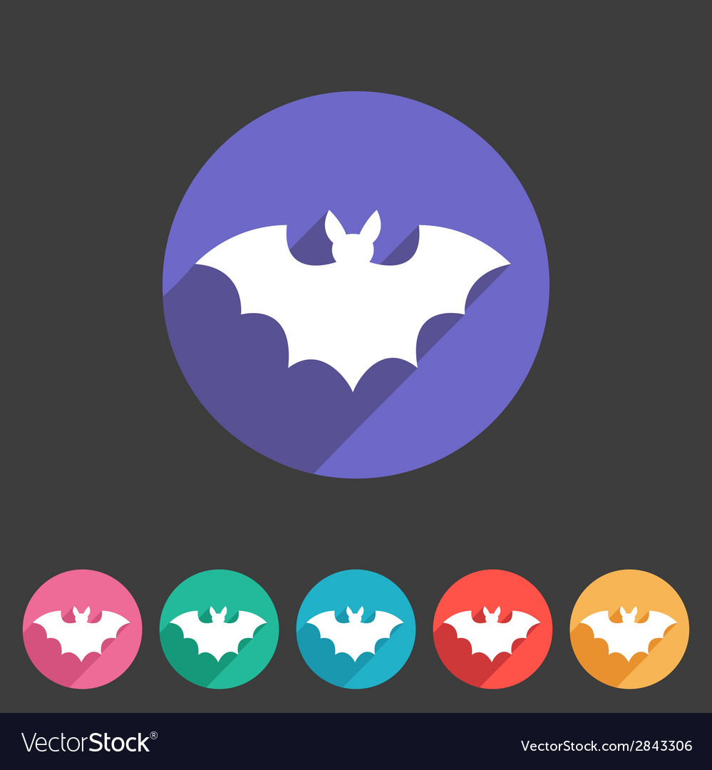 Bat flat halloween icon badge vector | Price: 1 Credit (USD $1)