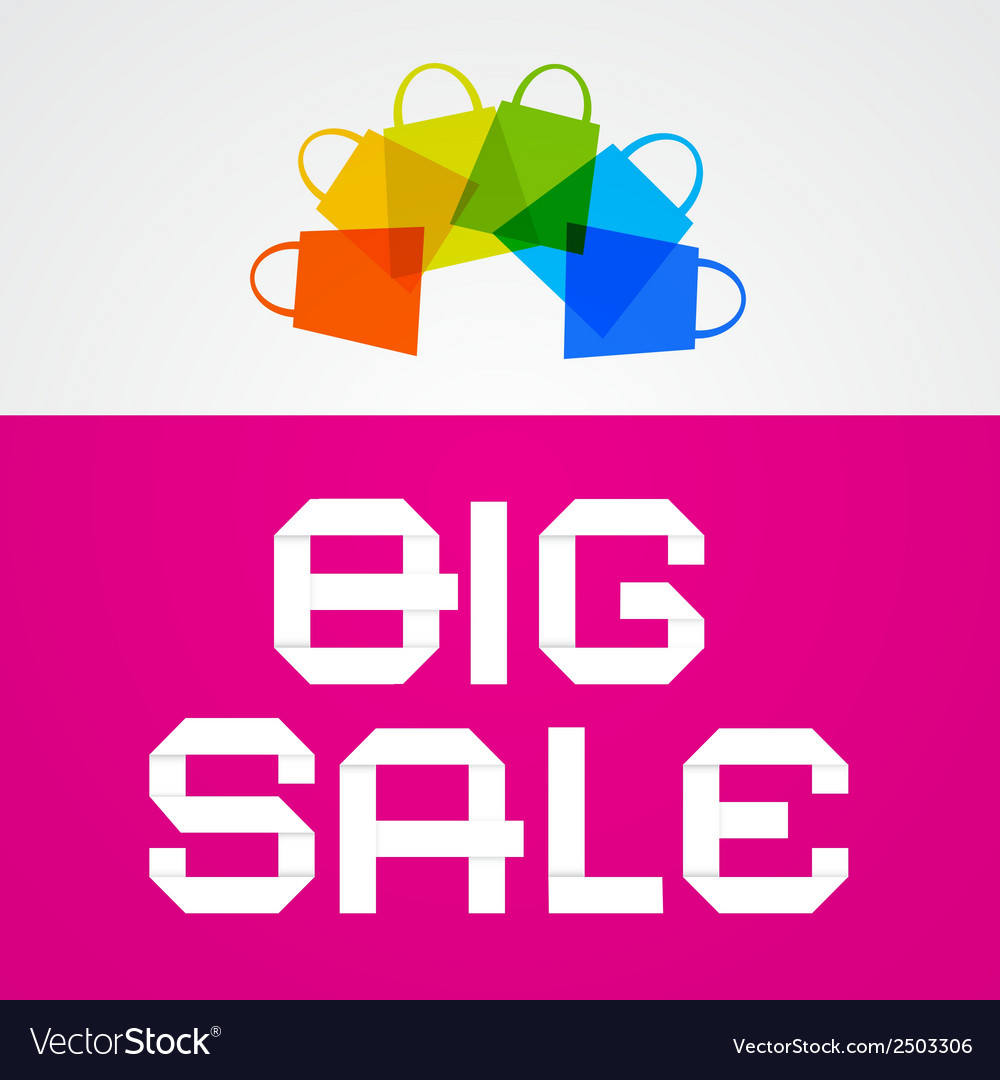 Big sale paper title on pink background with vector | Price: 1 Credit (USD $1)