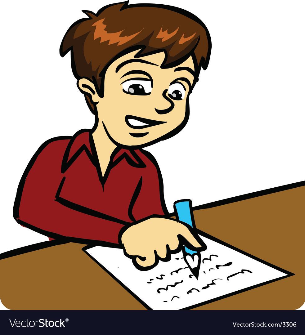 Boy writing vector | Price: 3 Credit (USD $3)