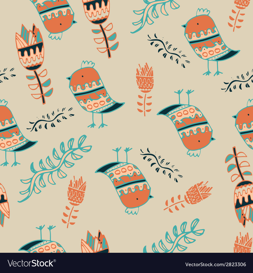Cute colorful floral seamless pattern with owl and vector   Price: 1 Credit (USD $1)