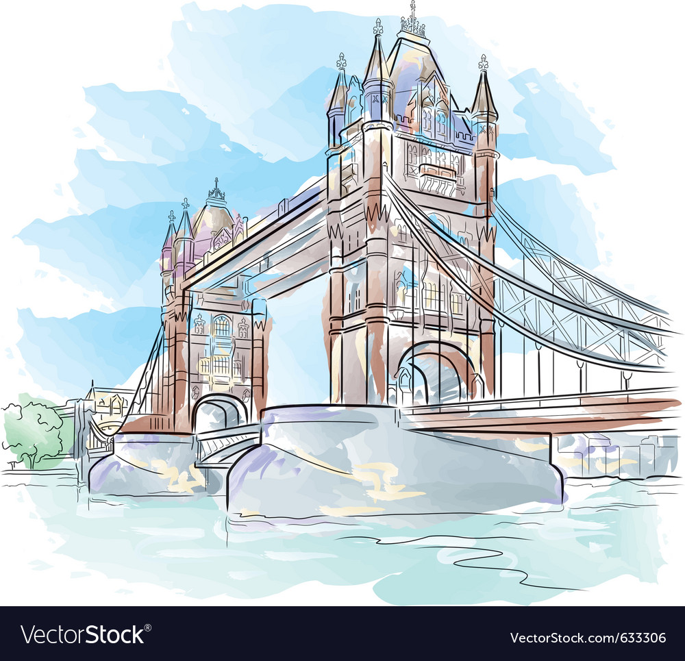 Drawing color tower bridge in london uk vector | Price: 1 Credit (USD $1)